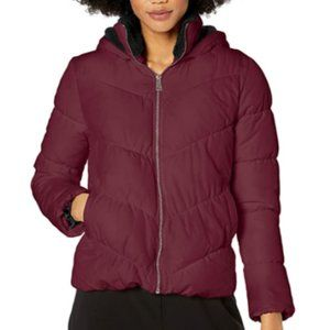NWT Wine Merlot Zip Up Hooded Puffer Winter Coat